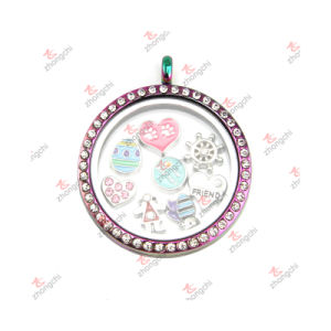 Wholesale Customized 38mm Round Lockets Pendant Jewelry for Necklace (RLJ222-226)