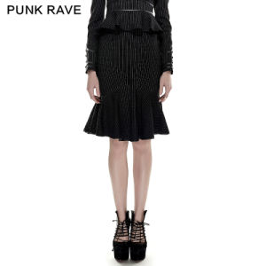 2016 Hot Sale Punk Rave Q-286 Black Drawstring Fishtail Military Uniform Style Skinny Skirt pictures & photos