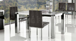 Modern Luxurious Marble Top Stainless Steel Foot Dining Furniture Set (NK-DT076)