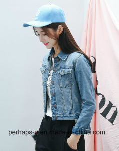 Fashion Women Tops Short Blue Denim Scratch Ripped Jacket pictures & photos
