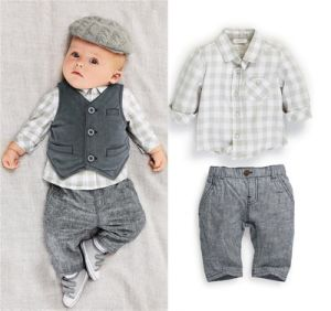 New Arrival European Baby′s Three-Piece Suit with Vest Kd2326 pictures & photos