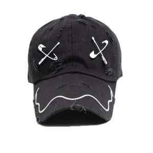 Black Baseball Cap with Flat Embroidery Logo pictures & photos