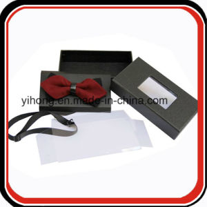 Custom Made PVC Window Black Paper Cardboard Bow Tie Boxes pictures & photos