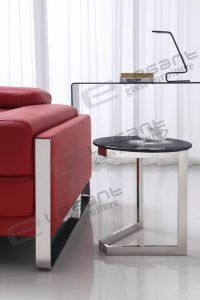 Grey Tempered Glass Side Table with Stainless Steel Base pictures & photos