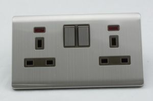 New Design British Standard Stainless Steel Double 13A Electric Wall Socket pictures & photos