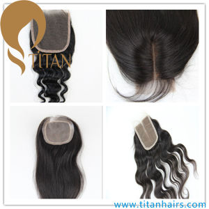 Wholesale Cheap Human Hair Women′s Pieces Hair Closure pictures & photos
