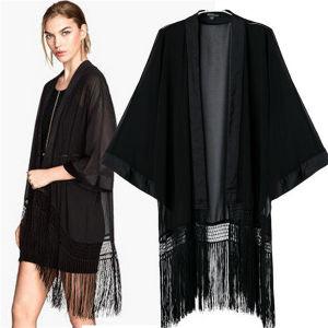 Fashion Classic Black Kimono Casual Bat-Like Tassel Blouses (50017) pictures & photos