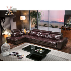 Leather Sofa with Adjustable Headrest (391)