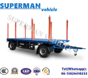 Utility Flatbed Drawbar Pulling Dolly Truck Semi Trailer with Pole pictures & photos