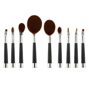New Arrival 9PCS Toothbrush Shape Golf Style Makeup Brush Set Powder Foundation Brush Siver Oval Cosmetic Makeup Brush pictures & photos