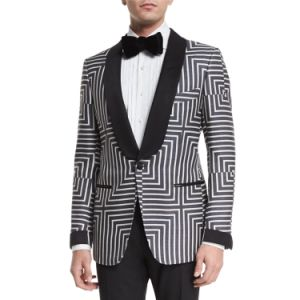 Made to Measure Shawl Collar Satin One Button Front Geometric Print Suit Jacket (SUIT7503) pictures & photos