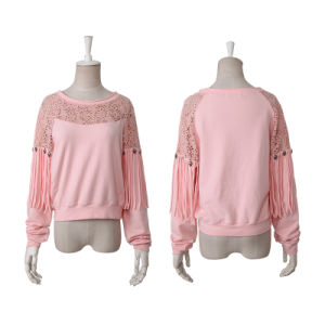 PT-045 Tassel Splicing Cut-out O-Neck Cotton Long Sleeves T-Shirt pictures & photos
