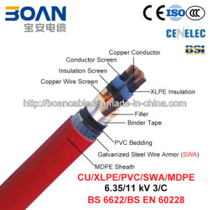Cu/XLPE/Cts/PVC/Swa/MDPE, Power Cable, 6.35/11 Kv, 3/C (BS 6622) pictures & photos