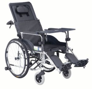 Wholly Reclined with Commode Steel Wheelchair
