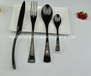 High Class Black Golden Stainless Steel Fork Spoon Knife pictures & photos
