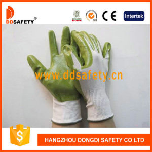 Ddsafety 2017 Nylon Green Nitrile Coated Glove Safety Gloves pictures & photos