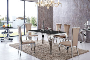 Modern Dining Room Stainless Steel Wedding Hotel Banquet Fabric Designer Dining Chair pictures & photos