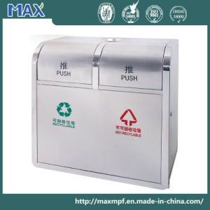Push Top 2 Compartment Garbage Bin with Ashtray pictures & photos