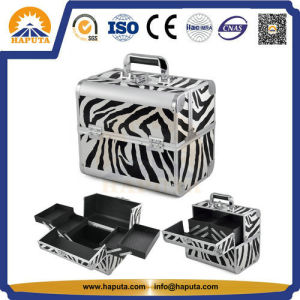 Middle Pink Aluminum Carrying Cosmetic Makeup Box for Travel (HB-3166) pictures & photos