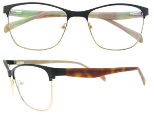 Wholesale Stainless Spectacle Frame with Acetate Temples Unsex Large Eyeglasses Frames pictures & photos