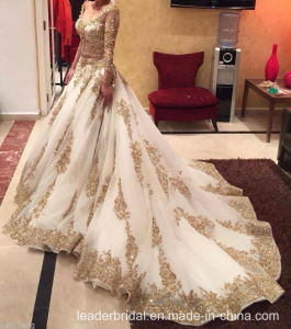 2017 Gold Lace Bridal Gown Sleeves Arabic Wedding Dress W15224 pictures & photos