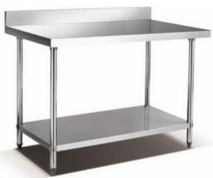 2-Deck Stainless Steel Working Table with Splashback pictures & photos