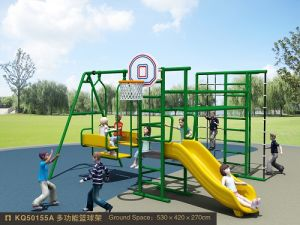 Kaiqi Medium Sized Creative Children′s Playground with Slide, Swing, Basketball Hoop and More! (KQ50155A) pictures & photos