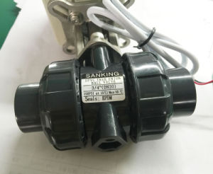 "Dn20 3/4"" 2-Way 12V 24V Plastic Electric Motorized PVC Ball Valve pictures & photos"