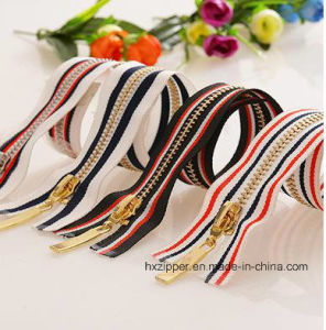 Colorful Tape Golden Teeth Metal Zippers