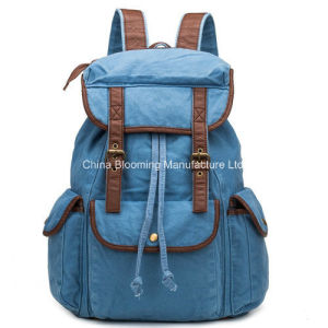 Leisure Canvas Campus School Student Bag Double Shoulder Backpack pictures & photos