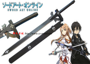 Anime Sword Art Online Kirito Black Elucidater Sword Real Steel Cosplay Props