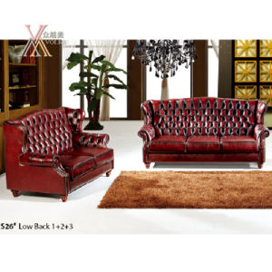 Antique Style Leather Sofa Set (S26) pictures & photos