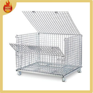 Stackable Galvanize Folding Steel Storage Cage for Sale pictures & photos
