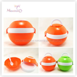 Food Grade Plastic Spherical Surface Lunch Box with Two Handles pictures & photos