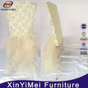 White Chameleon Tulle Ruffled Polyester Stretch Chair Cover pictures & photos