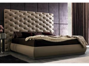 High Headboard Tufted Leather Bed for Home or Hotel (LB-004)