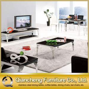Simple Tempered Glass Dining Table with Stainless Steel Leg pictures & photos