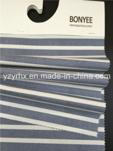Finished Fabric 100% Cotton Plain Weave White Stripes Between Blue pictures & photos