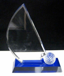 Golf Crystal Trophy Award with OEM Welcomed pictures & photos