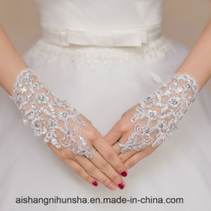Short Bridal Gloves Fingerless Women Wedding Lace Fingerless Gloves pictures & photos