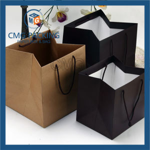 Recycled Brown and Black Kraft Paper Bag for Cake (DM-GPBB-161) pictures & photos