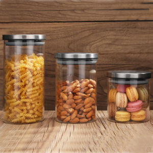 Glass Food Packaging Jar Sealed Lid Glass Seasalt Jar Glass Canister pictures & photos