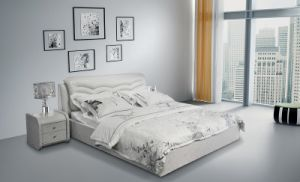 Simple European Style Genuine Leather Bed (SBT-5874) pictures & photos