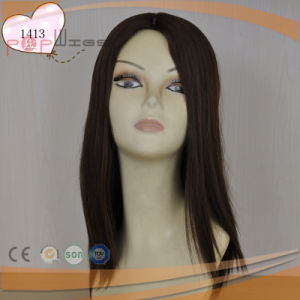 Full Hand Tied Natural Color Human Hair Skin Top Women Wig pictures & photos