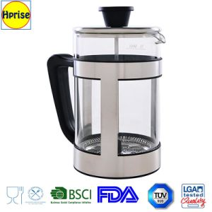 Wholesales Coffee Maker Pot Luxury Stainless Steel and Borosilicate Glass Heat Resisitant French Press Coffee Maker Pot