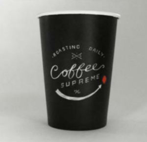 Full Black Coffee Cup with Customer Designed Logo Printing