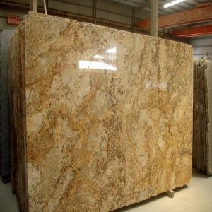 Natural Gold Yellow Granite Slab for Wall / Floor