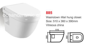 885 Water Closet, Sanitary Ware, Ceramic Washdown Wall Hung Toilet pictures & photos