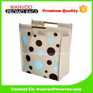 Printed Jute Leisure Carrier Bag Shopping Bag with Wood Handle pictures & photos