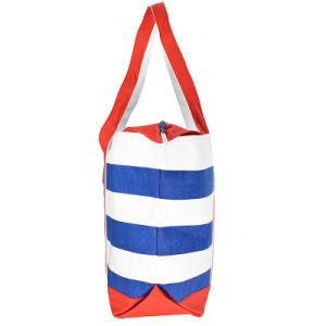 Wholesale Zipper Closure Stripe Custom Print Cotton Lady Canvas Beach Tote Bag pictures & photos